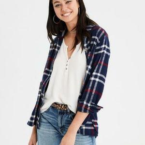 American Eagle Blue Plaid Flannel Button Down Shirt Soft Western